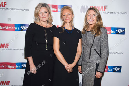 Cynthia McFadden, from left, Anna Nemtsova and Deborah Turness attend the International Women's Media Foundation's 26th Annual Courage in Journalism Awards at Cipriani's 42nd Street, in New York