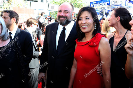 SEPTEMBER 23: James Gandolfini (L) and Deborah Lin arrive at the Academy of Television Arts & Sciences 64th Primetime Emmy Awards at Nokia Theatre L.A. Live on in Los Angeles, California