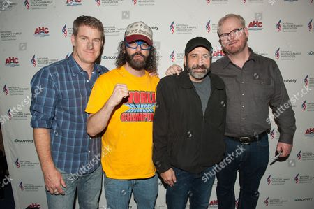 """IMAGE DISTRIBUTED FOR DISCOVERY COMMUNICATIONS LLC -Left to right) American Heroes Channel host Jamie Kaler with comedians Judah Friedlander, Dave Attell, and Jim Gaffigan at """"A Comedy Salute to Military Families"""" sponsored by Discovery Communications, at Gotham Comedy Club, on in New York"""
