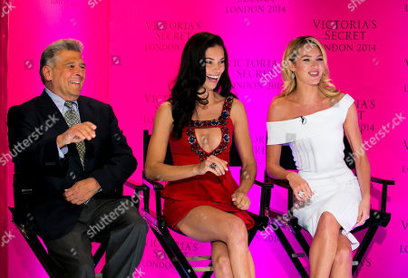 Stock Image of Chief Marketing Officer Ed Razek and Victoria's Secret models Candice Swanepoel and Adriana Lima during a press conference at the Victoria's Secret New Bond Street store in central London, The Victoria's Secret models have announced that the Victoria's Secret Fashion show will be coming to London this year