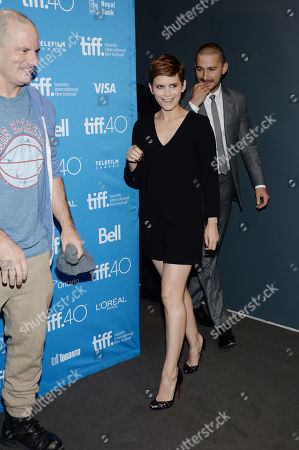 "Director Dito Montiel, from left, Kate Mara and Shia LaBeouf attend a press conference for ""Man Down"" on day 6 of the Toronto International Film Festival at the TIFF Bell Lightbox, in Toronto"