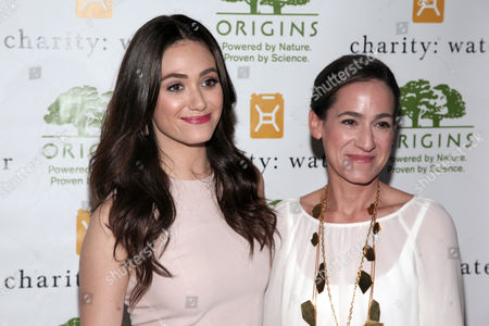 Actress Emmy Rossum, left, and Global President and General Manager of Origins Jane Lauder, right, attend the Origins Smarty Plants Event on in New York