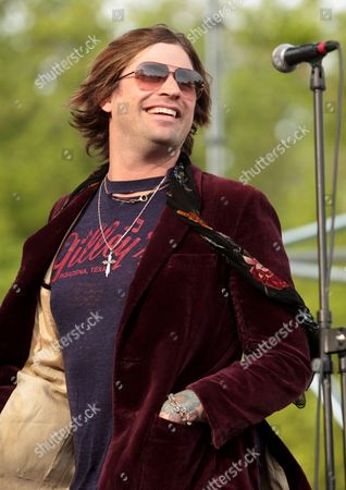 Austin Winkler of the rock band Hinder performs at Rockford Park, in Wilmington, Del