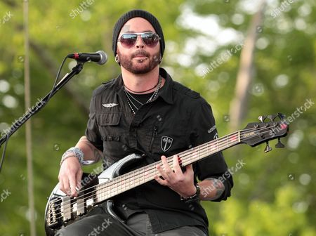 Stock Image of Mike Rodden of the rock band Hinder performs at Rockford Park, in Wilmington, Del