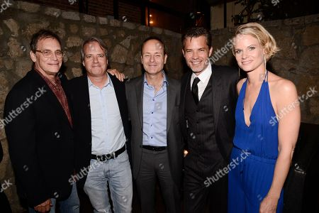 From left to right, producer Michael Dinner, executive producer Graham Yost, FX Networks CEO John Landgraf, actor Timothy Olyphant, and actress Joelle Carter attend an after party for the screening of the television series finale of FX's 'Justified' in Los Angeles on