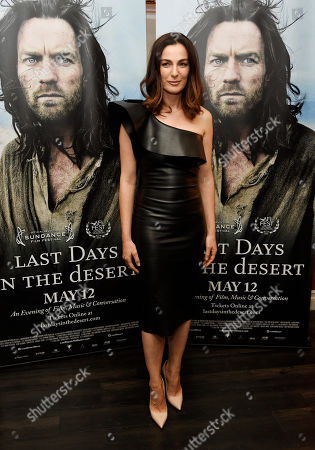 """Ayelet Zurer, a cast member in """"Last Days in the Desert,"""" poses at the premiere of the film at Laemmle's Royal Theatre, in Los Angeles"""