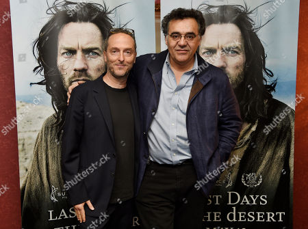 """Stock Picture of Rodrigo Garcia, right, writer/director of """"Last Days in the Desert,"""" poses with the film's cinematographer Emmanuel Lubezki at a special screening of the film at Laemmle's Royal Theatre, in Los Angeles"""