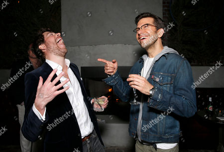 Stock Photo of Hudson Morgan and Pete Huyck attend the after party for Millennium Entertainment's Upside Down Los Angeles Premiere hosted by Quintessentially at Arclight Hollywood on in Los Angeles