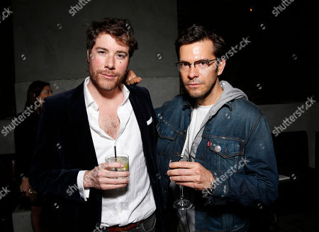 Stock Picture of Hudson Morgan and Pete Huyck attend the after party for Millennium Entertainment's Upside Down Los Angeles Premiere hosted by Quintessentially at Arclight Hollywood on in Los Angeles