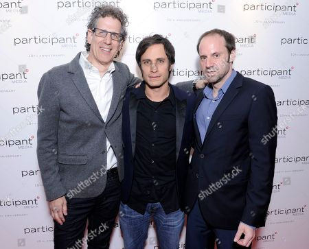 Jim Berk, Gael Garcia Bernal and Jeff Skoll seen at the Participant Media 10th Anniversary Celebration and El Ardor party at Cannes at the 67th international film festival, Cannes, southern France