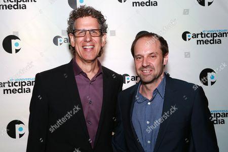 Participant Media CEO Jim Berk and Founder Jeff Skoll seen at Participant Media's 10th Anniversary Celebration at Toronto International Film Festival at Brassaii Restaurant, in Toronto, ON, Canada