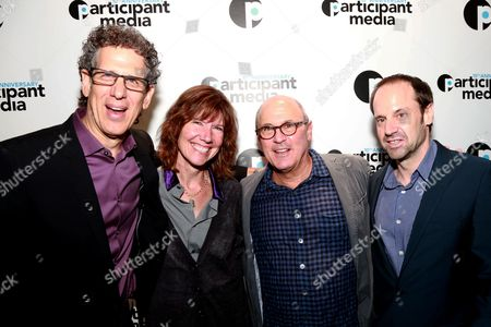 Participant Media's CEO Jim Berk, Diane Weyerman, Robby Kenner and Participant Media Founder Jeff Skoll seen at Participant Media's 10th Anniversary Celebration at Toronto International Film Festival at Brassaii Restaurant, in Toronto, ON, Canada