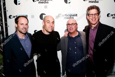 From left, Participant Media's Founder Jeff Skoll, Joshua Oppenheimer, Robby Kenner, and Participant Media's CEO Jim Berk seen at Participant Media's 10th Anniversary Celebration at Toronto International Film Festival at Brassaii Restaurant, in Toronto, ON, Canada