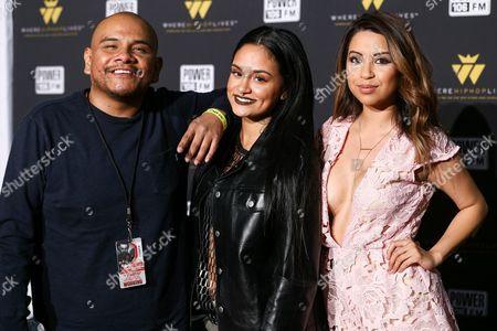 Stock Image of J Cruz, from left, Kehlani and Krystal Bianca seen at Power 106's 'Crush Concert' held at The Forum, in Inglewood, Calif