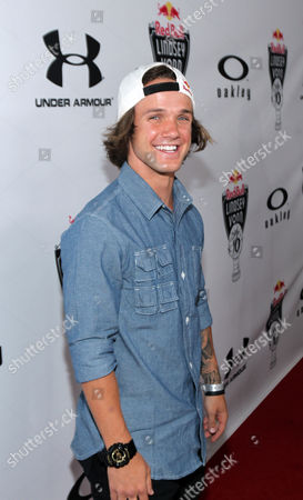 Snowboarder Louie Vito arrives at the Red Bull Sweet 16 Celebration for Lindsey Vonn, in Los Angeles