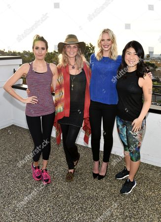 Louise Roe, from left, Angela Lindvall, Anne Vyalitsyna, and SELF Editor-in-Chief Joyce Chang attend SELF: Get #UPnOUT at Palihouse, in West Hollywood, Calif