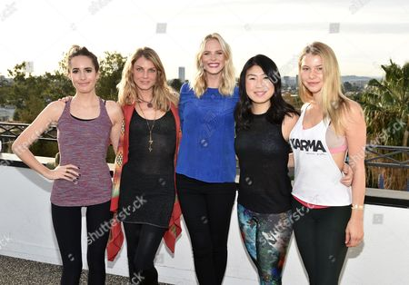 Louise Roe, from left, Angela Lindvall, Anne Vyalitsyna, SELF Editor-in-Chief Joyce Chang, and Lexi Atkins attend SELF: Get #UPnOUT at Palihouse, in West Hollywood, Calif