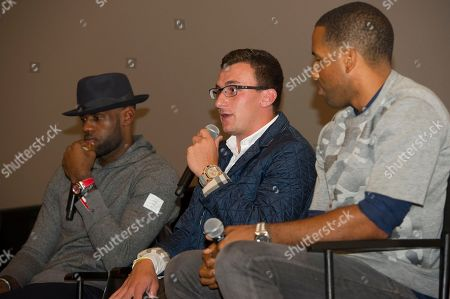 """LeBron James, left, Johnny Manziel, center and Maverick Carter are shown during a question and answer session at the Starz screening of """"Survivor's Remorse"""" at the Capitol Theater, in Cleveland, Ohio"""