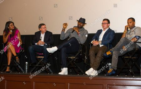 """Karen Civil, left, Tom Werner, LeBron James, Johnny Manziel and Maverick Carter, right, are shown during a question and answer session, at the Starz screening of """"Survivor's Remorse"""" at the Capitol Theater, in Cleveland, Ohio"""