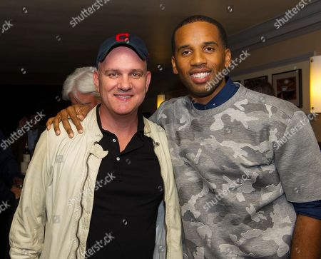 """Mike O'Malley, left and Maverick Carter are shown at the Starz screening of """"Survivor's Remorse"""" at the Capitol Theater, in Cleveland, Ohio"""