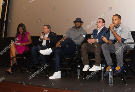 """Karen Civil, left, Tom Werner, LeBron James, Johnny Manziel, and Maverick Carter, right, participate in a question and answer session at the Starz screening of """"Survivor's Remorse"""" at the Capitol Theater, in Cleveland, Ohio"""