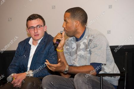"""Maverick Carter, right, and johnny Manziel participate in a question and answer session at the Starz screening of """"Survivor's Remorse"""" at the Capitol Theater, in Cleveland, Ohio"""