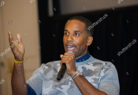 """Maverick Carter speaks during a question and answer session, at the Starz screening of """"Survivor's Remorse"""" at the Capitol Theater, in Cleveland, Ohio"""
