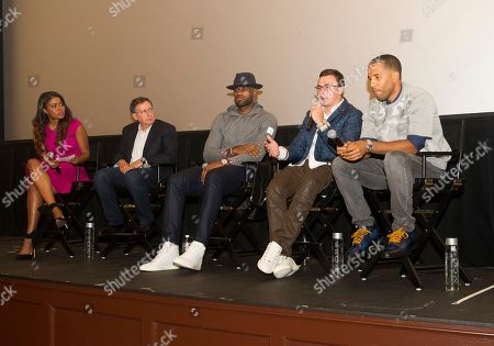 """Karen Civil, left, Tom Werner, LeBron James, Johnny Manziel and Maverick Carter, right, participate in a question and answer session at the Starz screening of """"Survivor's Remorse"""" at the Capitol Theater, in Cleveland, Ohio"""
