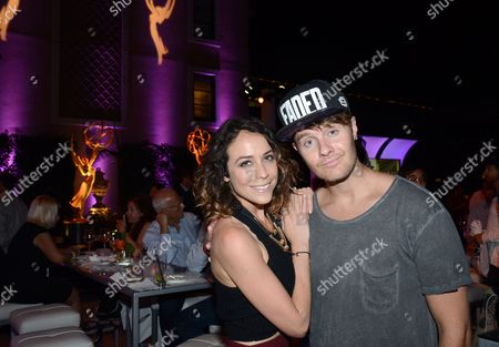 Stock Photo of Shira Lazar and Bart Baker mingle at the Television Academy's 67th Emmy IMPG Celebration of Excellence at the Montage Beverly Hills on in Beverly Hills, Calif