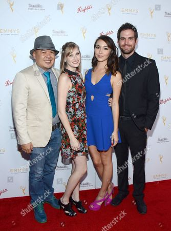 Bernie Su, Dayeanne Hutton, Joanna Sotomura, and Brent Bailey arrive at the Television Academy's 67th Emmy IMPG Celebration of Excellence at the Montage Beverly Hills on in Beverly Hills, Calif