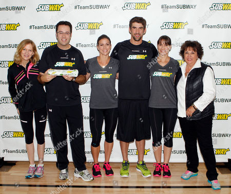"From left, Mary Wittenberg, President and CEO of New York Road Runners, Jared Fogle ""The SUBWAY Guy,"" siblings Whitney, Michael and Hilary Phelps and mother Debbie Phelps join Whitney as she announces that she will run the ING New York City Marathon with Team SUBWAY at the Chelsea Piers Sport Center, in New York"