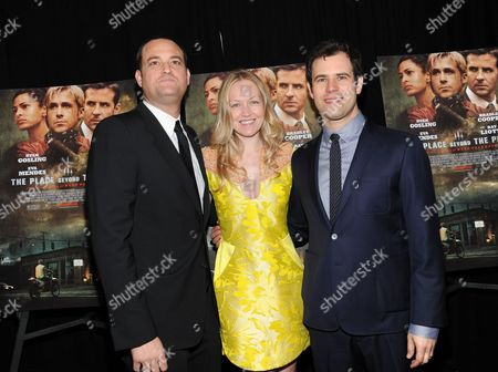 "Producers Jamie Patricof, left, Lynette Howell and Alex Orlovsky attend the premiere of Focus Features' ""The Place Beyond The Pines"" at the Landmark Sunshine Theater on in New York"