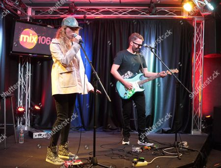 Stock Photo of Katie White, left, and Jules De Martino of the band The Ting Tings visit the Mix 106 Performance Theater, in Philadelphia
