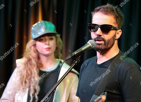 Stock Picture of Katie White, left, and Jules De Martino of the band The Ting Tings visit the Mix 106 Performance Theater, in Philadelphia