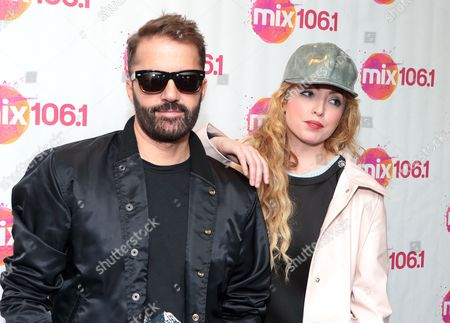 Jules De Martino, left, and Katie White of the band The Ting Tings visit the Mix 106 Performance Theater, in Philadelphia