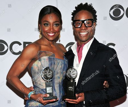Patina Miller, left, and Billy Porter posing with their awards in the press room at the 67th Annual Tony Awards, in New York. Six alumni from Carnegie Mellon University took home Tonys in five categories, a glittery haul that was both a school record and a huge source of pride for a theater department that turns 100 next year. Billy Porter, Patina Miller and Judith Light each took home acting Tonys, while Ann Roth got one for best costume design, and partners Jules Fisher and Peggy Eisenhauer won for best lighting design of a play