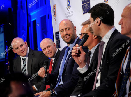 Stock Image of Iconic Australian rugby players Stephen Moore, Tim Usasz, Nathan Sharpe, Michael Lynagh, John Eales and Mark Loane, left to right, speak at the University of Queensland Rugby Inaugural Benefit Dinner, at the Manhattan Club in New York. The dinner announced the Mark Loane Medal which will recognize an outstanding U.S. rugby scholar and offer a chance for them to play at University of Queensland