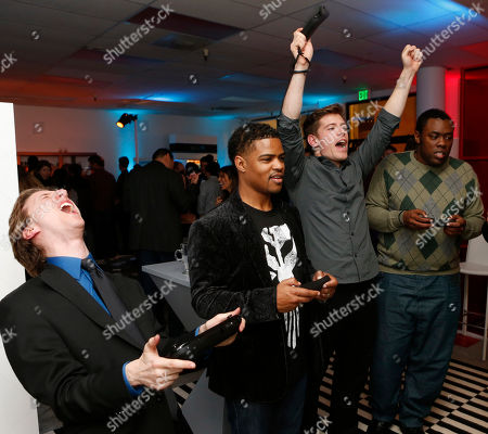 IMAGE DISTRIBUTED FOR NINTENDO - Jared Knabenbauer (from Pro Jared), Damon Scott (from Broken Pixels), TJ Smith (from Ivy League Punk) and Andre Meadows (from Black Nerd Comedy) play the Wii U at the Nintendo Wii U Video Challenge at the Nintendo Lounge at Sundance 2013, on Thursday, Jan.,17, 2013 in Park City, Utah