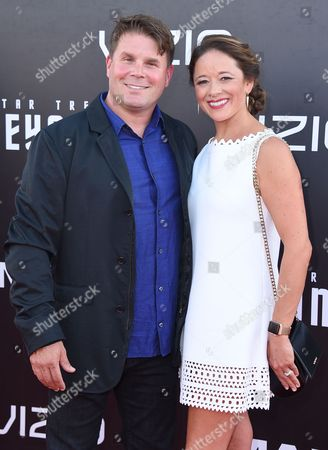 """Rod Roddenberry, left, and Heidi Roddenberry arrive at the world premiere of """"Star Trek Beyond"""" at the Embarcadero Marina Park South, in San Diego"""