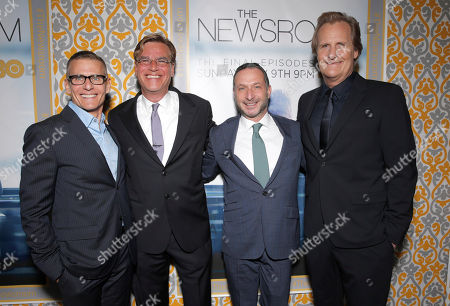 """President of HBO Programming Michael Lombardo, creator/executive producer Aaron Sorkin, Executive Producer Alan Poul, and Jeff Daniels attend """"The Newsroom"""" Season Three Premiere at the DGA, in Los Angeles"""