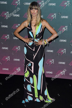 Anjulie poses for a picture in the Press Room during the 2013 MuchMusic Video Awards at the MuchMusic Headquarters, in Toronto, Canada