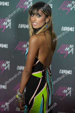 Stock Picture of Anjulie poses for a picture in the Press Room during the 2013 MuchMusic Video Awards at the MuchMusic Headquarters, in Toronto, Canada