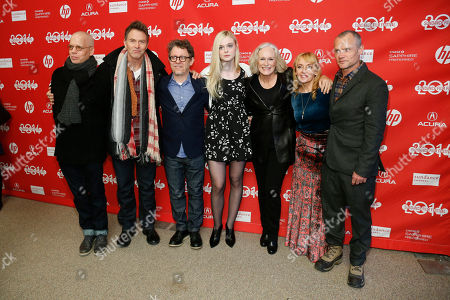 """Writer Topper Lilien, actor Tim Daly, director Jeff Preiss, actress Elle Fanning, actress Glenn Close, writer Amy-Jo Albany, and actor Flea poses at the premiere of the film """"Low Down"""" during the 2014 Sundance Film Festival, on in Park City, Utah"""