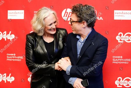 """Csat member Glenn Close, left, talks with director Jeff Preiss, right, as they pose at the premiere of the film """"Low Down"""" during the 2014 Sundance Film Festival,, in Park City, Utah"""