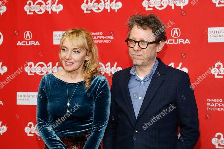 """Writer Amy-Jo Albany, left, and director Jeff Preiss, right, pose at the premiere of the film """"Low Down"""" during the 2014 Sundance Film Festival, on in Park City, Utah"""