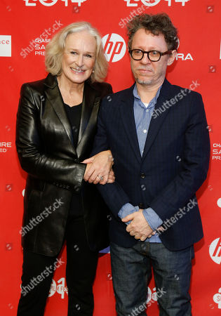 """Csat member Glenn Close, left, and director Jeff Preiss, right, pose at the premiere of the film """"Low Down"""" during the 2014 Sundance Film Festival, on in Park City, Utah"""