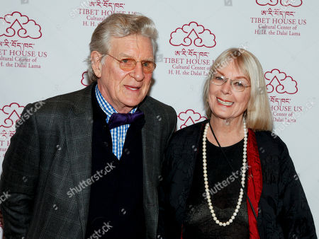 Stock Picture of Dr. Robert A.F. Thurman, left, and Nena Thurman, right, attend the 12th Annual Tibet House Benefit Auction at Christie's, in New York