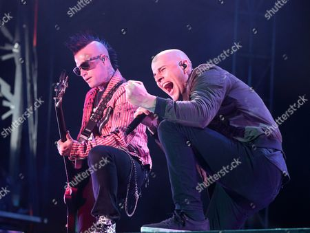 Johnny Christ, left, and M. Shadows of the band Avenged Sevenfold performs in concert during Day 2 of the Rock Allegiance Festival at Talen Energy Stadium, in Chester, Pa