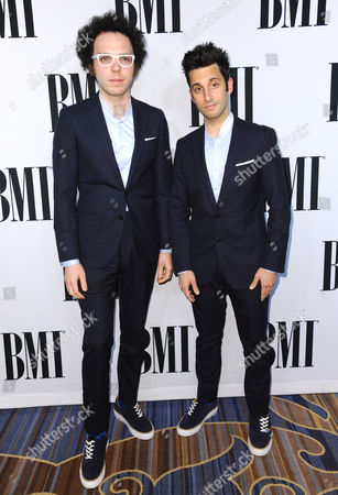 Ian Axel, left, and Chad Vaccarino, of A Great Big World, arrive at the 63rd annual BMI Pop Awards at the Beverly Wilshire Hotel, in Beverly Hills, Calif