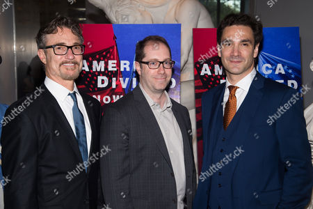 """Barry Josephson, left, Craig Silverstein and Alexander Rose attend AMC's """"Turn: Washington's Spies"""" season three premiere event at the New York Historical Society, in New York"""